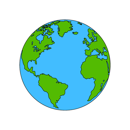Planet Earth colored, the coloring vector. Flat eps10 illustration