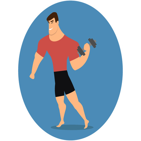 Athlete strong man character holding dumbbell. Vector flat cartoon illustration illustration eps10