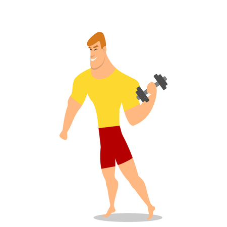 Young man, male bodybuilder, weightlifter doing bicep workout, training arms with two dumbbells, cartoon vector illustration isolated on white background.