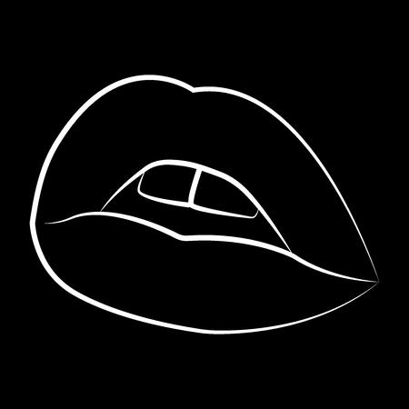 illustration. sexy lips line vector illustration eps 10 Stock Photo