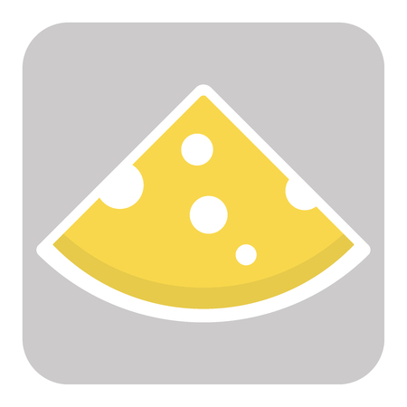 Icon of cut cheese piece. Vector flat illustration eps10
