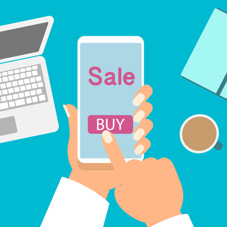 Flat vector illustration of businessman hands holding smartphone with an Sale, buy on screen.