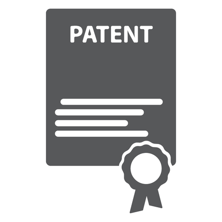 Patented document with approved stamp vector icon illustration, flat cartoon paper doc with rubber seal means registered intellectual property, idea of patent license certificate eps10 Illustration