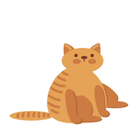 Cute and funny sweet red cat character, cartoon vector illustration isolated on white background. Cute and funny red cat character, nice and sweet illustration Illustration