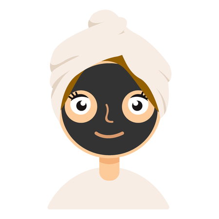 Black clay mask on girl face color flat icon for web and mobile design. Illustration