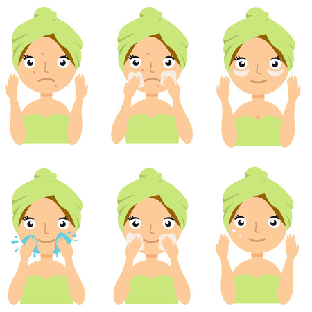 Beautiful girl cleaning and care her face with various actions. Vector illustration set isolated on white background. EPS10 일러스트