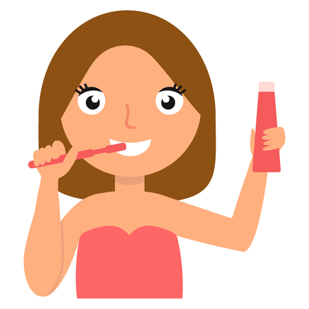 Girl brushing her teeth, cheerful woman taking care of her teeth vector Illustration eps10