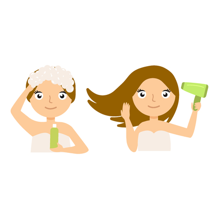Pretty woman soaping her head on white background.File vector illustration eps10 Illustration