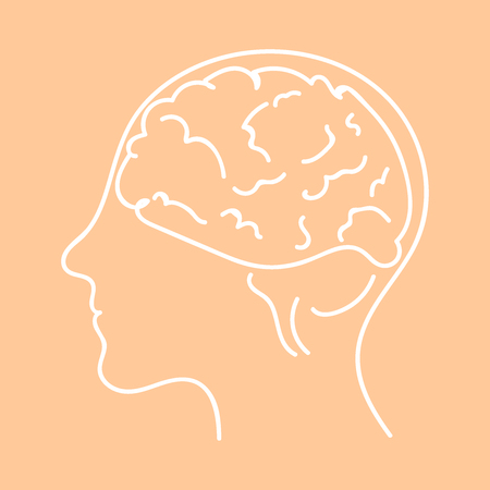 Line icon- brain vector flat illustration eps10 Vectores