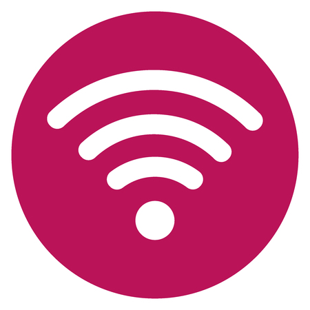 Pink round icon and Wifi signal sign. Vector illustration eps 10