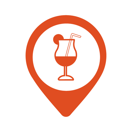 Bar location with cocktail drink on map pointer icon.
