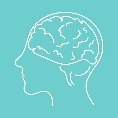 Line icon - brain vector flat illustration eps10