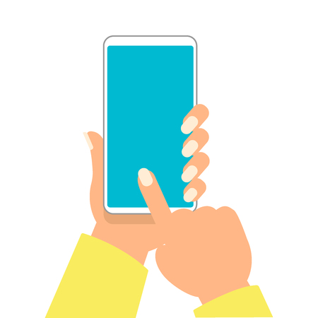 Hand of woman is holding smartphone and pointing on the blank screen for add object vector illustration eps10. Vectores
