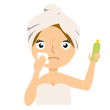 Girl cleans her face with cosmetic lotion. Skin problems solution, home remedies. Vector stock illustration.