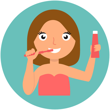Girl. Beautiful young girl. Brushing his teeth. Cares for teeth. Isolated on a blue background. Vector flat illustration eps10
