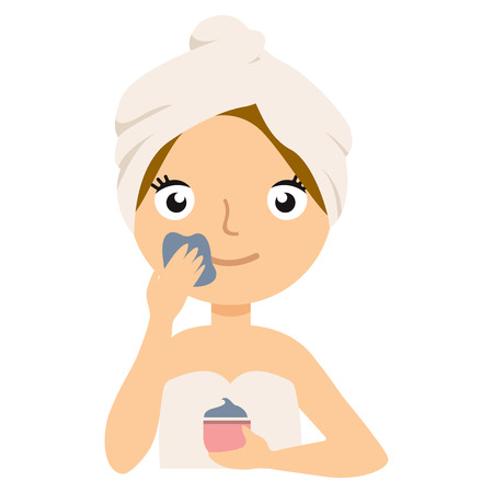 Girl puts clay on the face.  Vector flat illustration eps10 Çizim