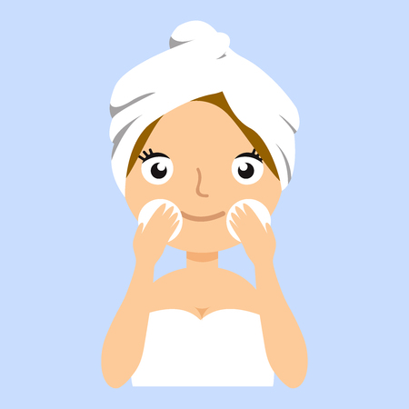 Pretty woman with towel on her head wash off makeup. Attractive girl is looking into the camera. Young model posing on blue background.  Vector flat illustration eps10