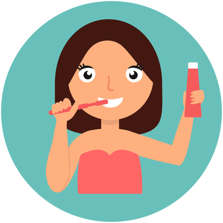 Beautiful young girl Brushing her teeth. Cares for teeth. Isolated on a blue background. Vector flat illustration Vettoriali