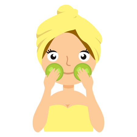 Attractive woman with a mask on the face. Beautiful girl is looking into the camera with a cucumber mask. 向量圖像