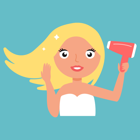 Hair Dryer. Beautiful Smiling Woman Drying Healthy Long Straight Hair Using Hairdryer.
