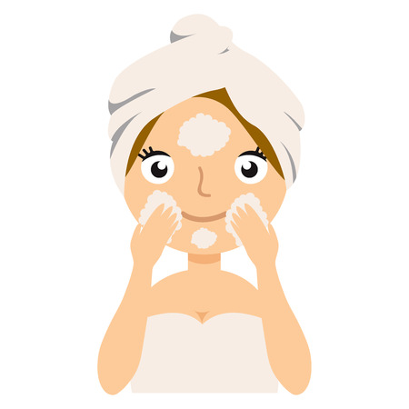 Attractive woman cleanses the skin foam, and looking into the camera. Young model posing on white background. Skin Care, spa salon, health and healing concept. Vector flat illustration eps10 일러스트
