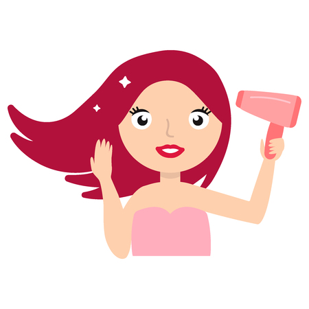 Hair Care. Beautiful Smiling Woman Drying Healthy Long Straight Hair Using Hair Dryer. Portrait Of Attractive Girl With pink Hair Using Hairdryer. Hairstyle, Hairdressing Concept. High Resolution. Vector flat illustration eps10 Illustration