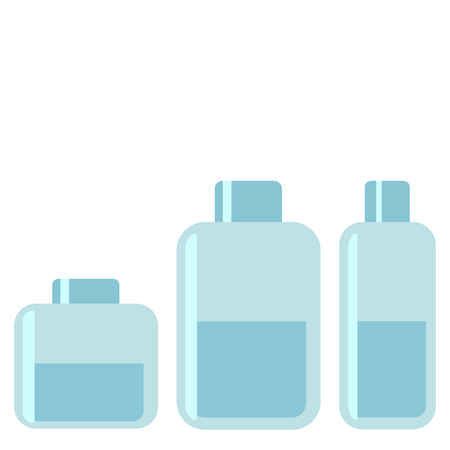 Bottles of spa, shampoo, gel, cream Containers on white background. Skin care, spa salon, health and healing concept. Vector flat illustration eps10
