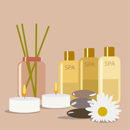 concept spa salon, skin care, health, relaxation, health and healing . Vector flat illustration eps10 Vettoriali