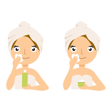 Young woman applying moisturizer cream and smiling. Photo of girl receiving spa treatments. Beauty Skin care concept. Vector flat illustration eps10 set