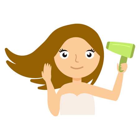 Attractive woman drying her hair with hairdryer. Beautiful girl looking into the camera. Young model prepere on white background. Skin Care, hair, spa, hairdresser, stylist, salon, health and healing concept. Vector flat illustration eps10