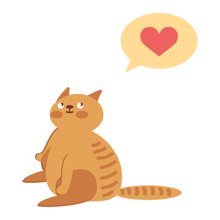 Cat with heart in thought cloud. modern line outline flat style cartoon character illustration icon.