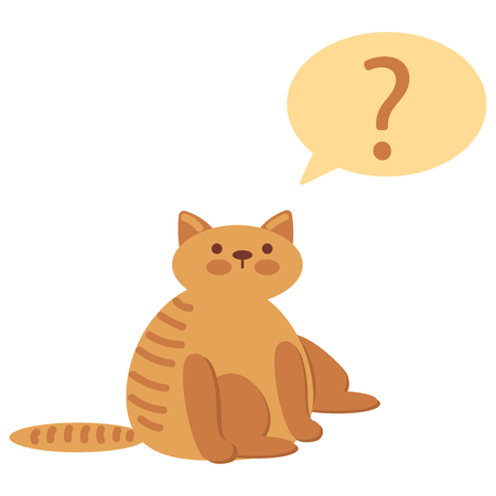 Cat with question mark. Vector flat icon illustration eps10
