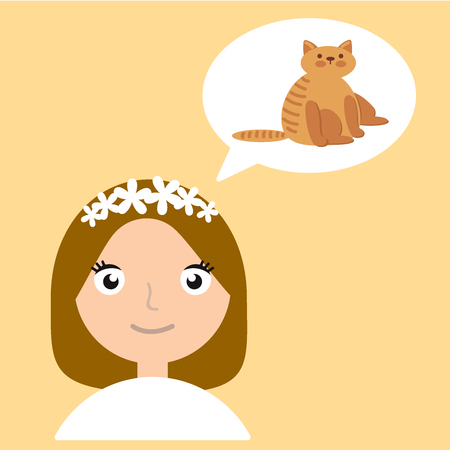 Young woman thinking about a cat on yellow isolated background.