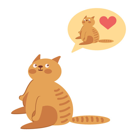 A thick cat is sitting and thinking about another cat on a white background.