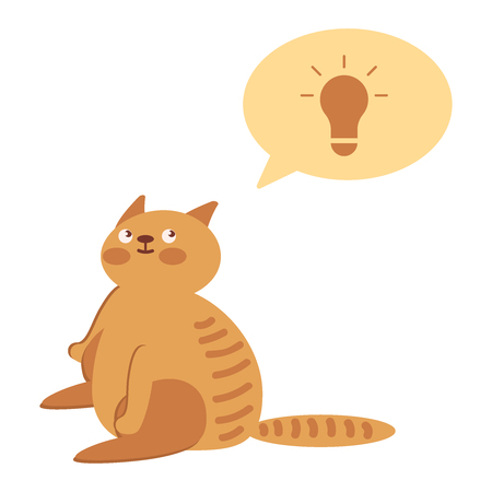 Smart cat with a bolb over your head. Clever animal sits on a white background. The cat something that came up with. Vector flat icon illustration eps10