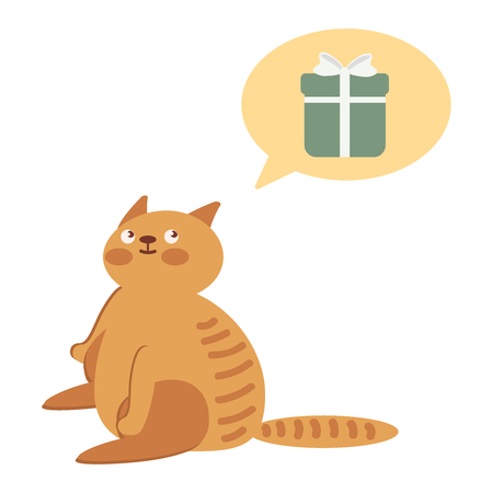 A cat is waiting for a gift. Character is waiting for the holiday. Concept of holiday, parcels, mail. Flat vector illustration eps10 Иллюстрация