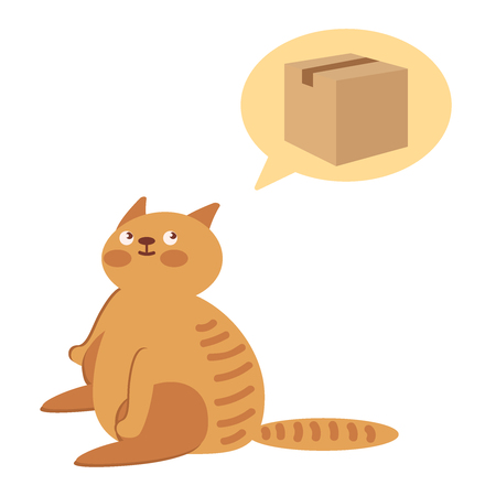 A cat is waiting for a gift. Character is waiting for the holiday. Concept of holiday, parcels, mail. Flat vector illustration. Illustration
