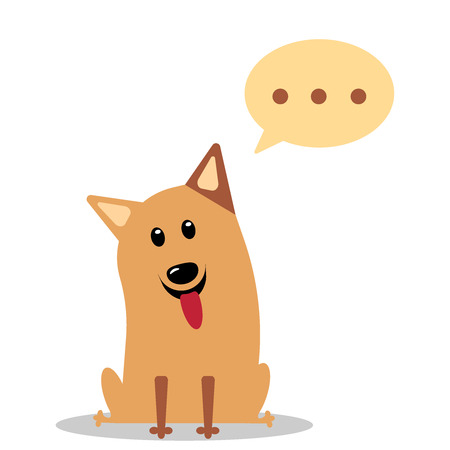 Puppy with a thoughtful expression and his eyes looking up, thought bubbles to add your own image or message. Flat vector illustration. Illustration