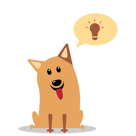 Dog having great ideas showing a glowing lightbulb. The dog invented something. Vector flat icon illustration eps10 Illustration