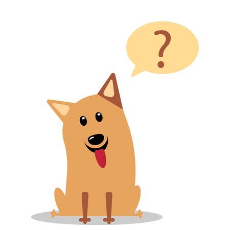 Cute little dog wondering cartoon character vector illustration flat eps10 Illustration
