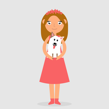 Laughing girl in pink dress holding and strongly cudding dog. Isolated raster illustration of happy kid and pet. Vector flat icon illustration eps10
