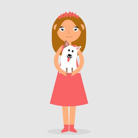 Muchacha que ríe en el vestido rosado que sostiene y que abraza fuertemente el perro. Ilustración de trama aislada de niño feliz y mascota. Vector icono plano ilustración eps10