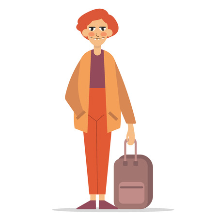 Traveler character icon. Fellow traveler. Man in casual clothes with trolley suitcase, template vector illustration isolated on white background. For travel concepts, app, logo, infographic design. Eps10