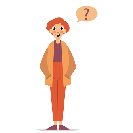Question sign. Young character asking a question flat editable vector illustration, eps10 clip art