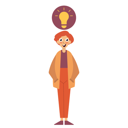 Idea Concept. Aha moment. Happy character looking at the camera. Young smiling nerd, light bulb flat editable vector illustration icon
