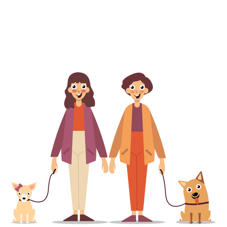 Couple in love, walking their pets. Happy people walking their pets. Young guy and girl walking with dogs, Colorful flat vector illustration