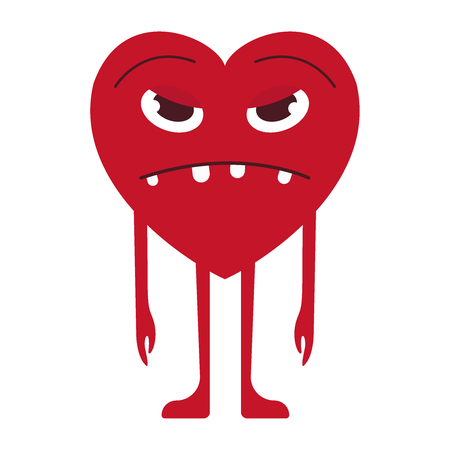 Evil character, unsatisfied smiley. Cartoon heart on a white background. Vector flat icon illustration eps10
