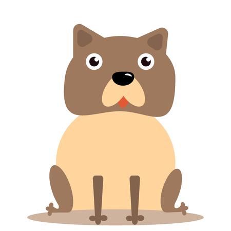 Happy cartoon puppy sitting, Portrait of cute little dog wearing. Dog friend. Vector illustration. Isolated on white background. Illustration eps10 flat icon