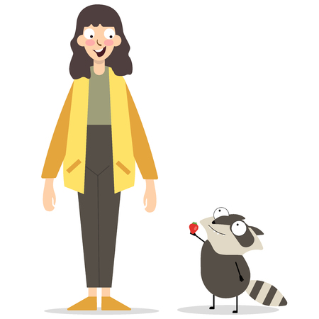 Young girl with cute animal, stand on white background. Illustration