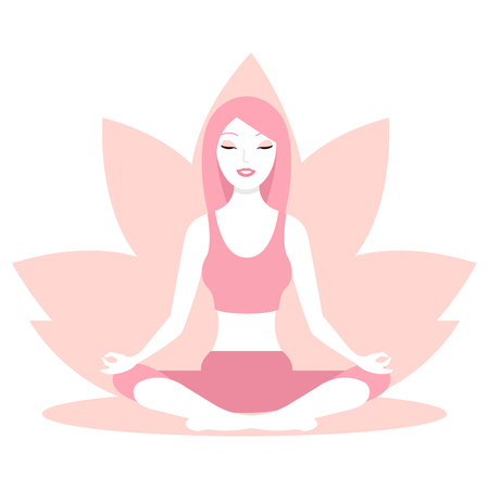 Woman sitting in lotus position. Yoga for women. Girl silhouette on a background of pink lotus flower. Logo for the banner, advertising, poster. Vector illustration flat icon eps10